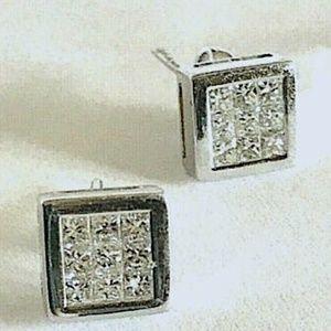 18kt 1.04ct Princess Cut Real Diamond Earrings